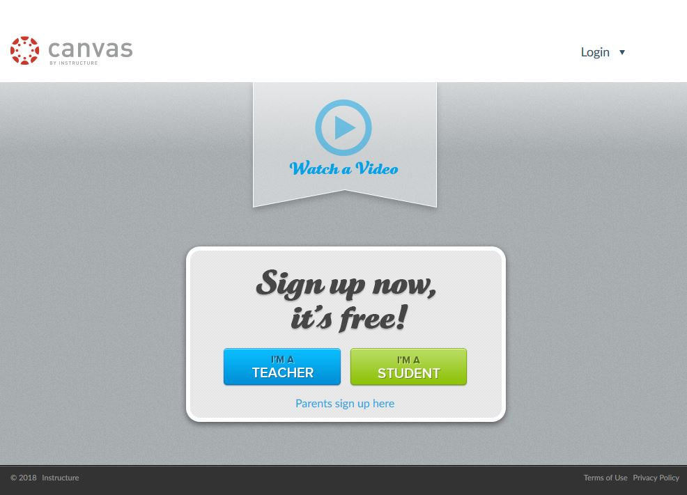 Step One - Sign up to Canvas