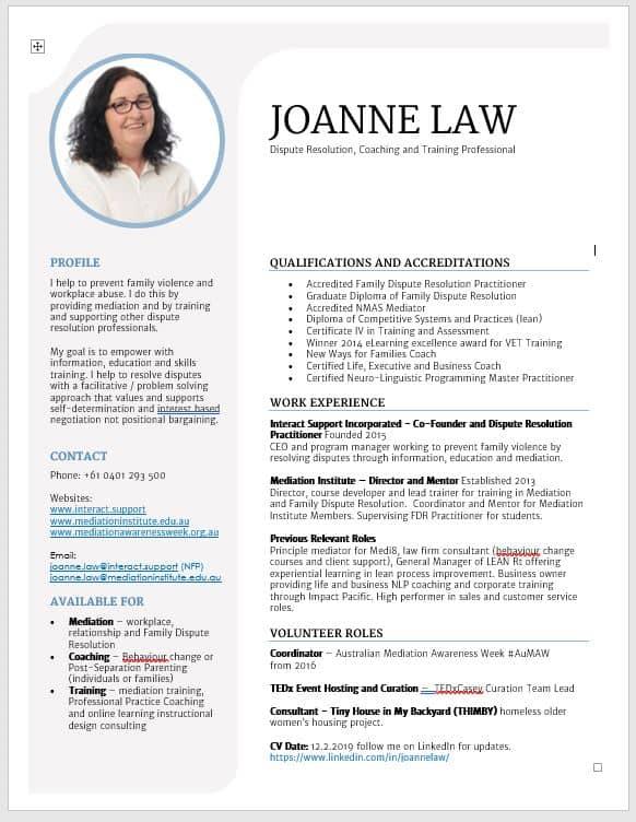 Joanne CV Image - Mediation Institute