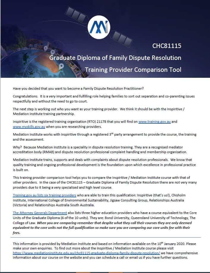 Training Provider Comparison Tool CHC81115