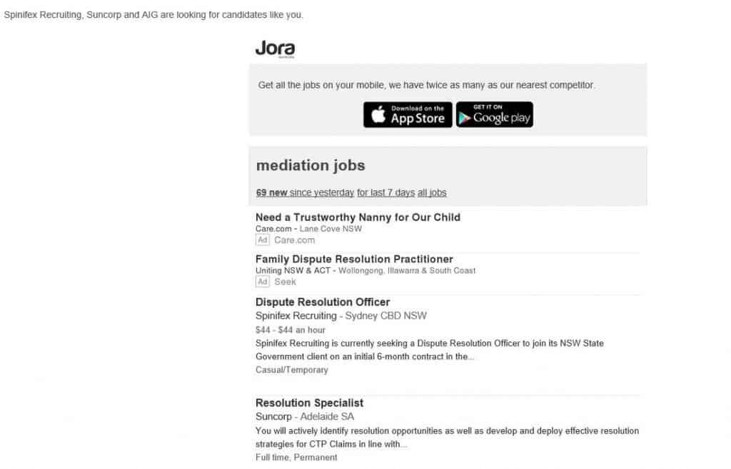 Jora Jobs email